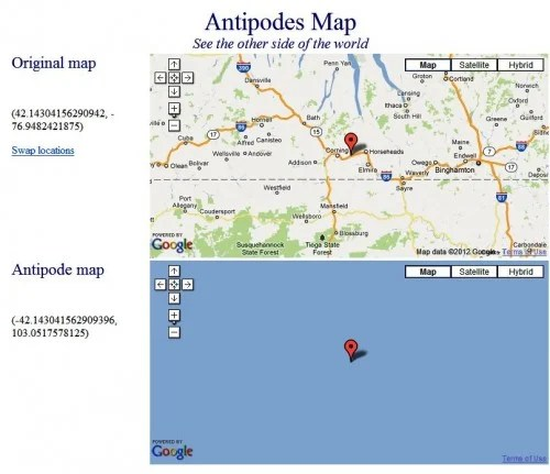 Antipodes Map Show Where that 'Drill Through the Earth' Dream Will Get You!