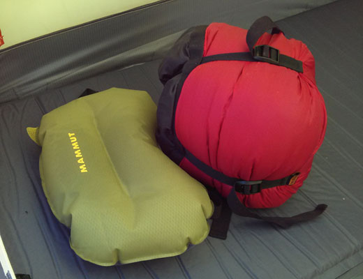 Packed next to inflatable pillow
