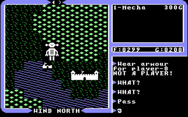 A giant robot in classic computer game Ultima IV. It's going to stomp Lord British's castle! Oh no!