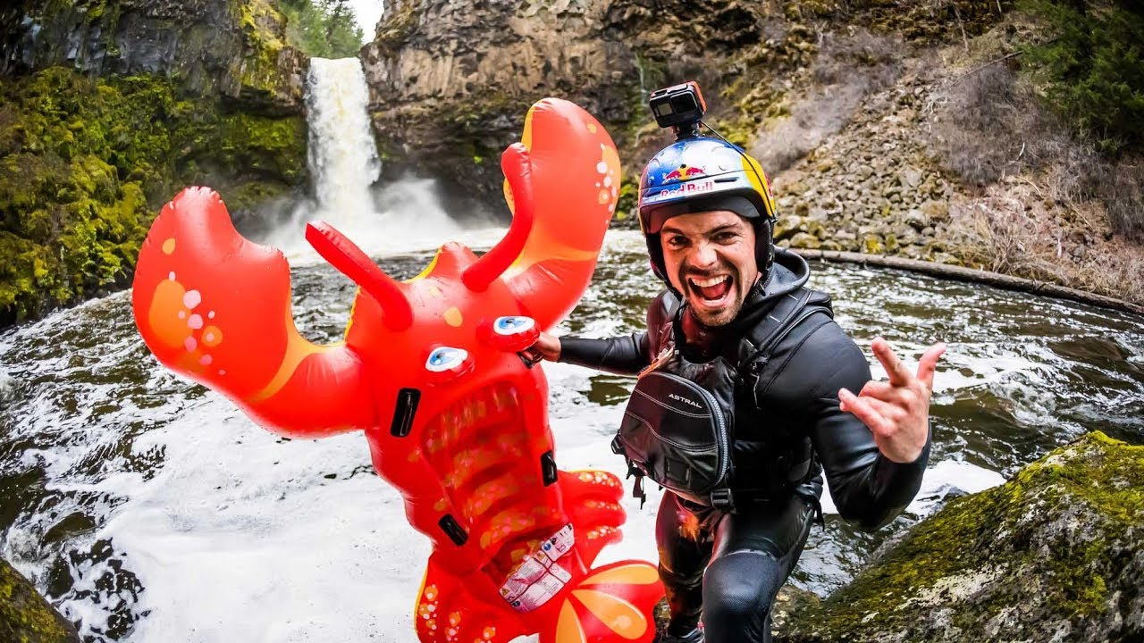 FunFriday: Kayak vs Inflatable Lobster from Off 70-Foot Waterfall