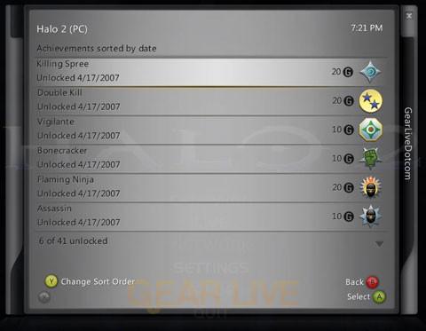 Halo 2 Vista Achievements