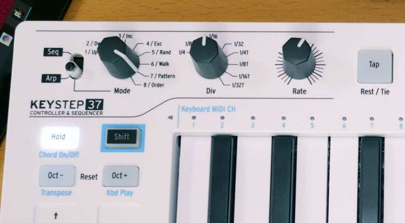 Arturia KeyStep 37 arpeggiator and sequencer controls