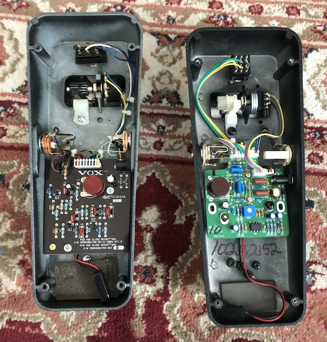 Guts of both the Vox and RMC pedals (note the red Fasel inductors)