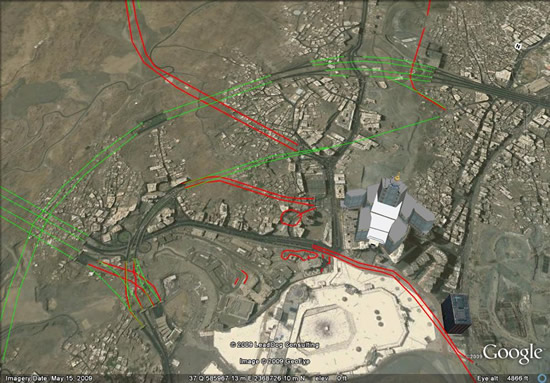 Mecca tunnels in Google Earth