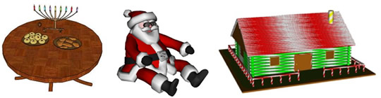 Holiday-themed 3D models