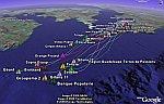 Route du Rhum sailing race in Google Earth