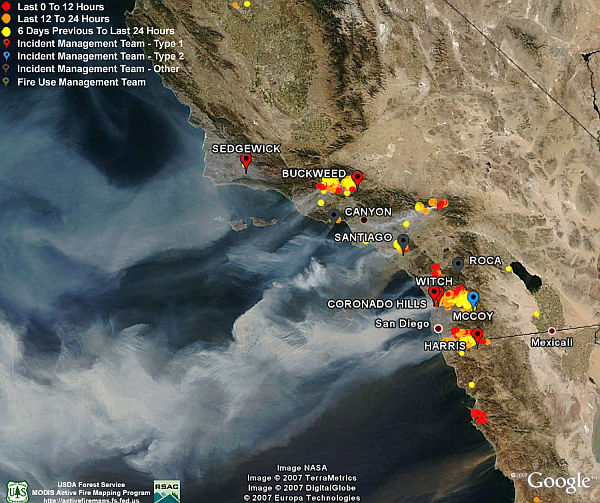 California Fires   Satellite photos  Fire Data in Google Earth     California Fires from NASA satellites in space in Google Earth