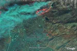 California Fires with Spot Image satellite photo in Google Earth