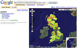 UK Fall Leaves network link in Google Maps