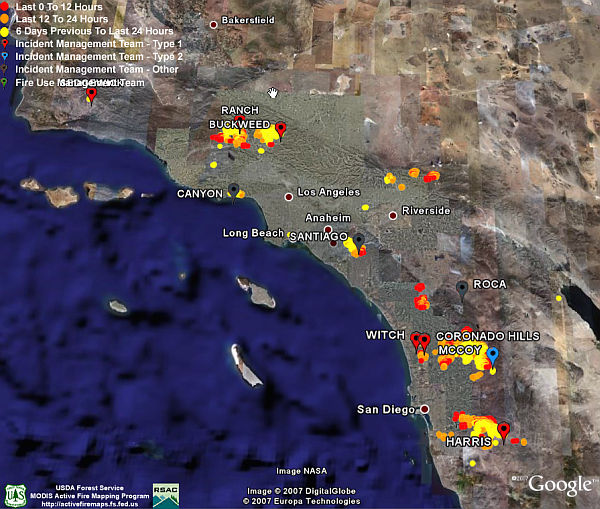 California Fires - Satellite photos, Fire Data in Google ... on california powerhouse fire map, california fire area, california fire zone map, california interstate map and towns, california state map with cities and towns, california fire history map, calfire google, california fires map oregon, california active fires map, california earthquake fault line map,