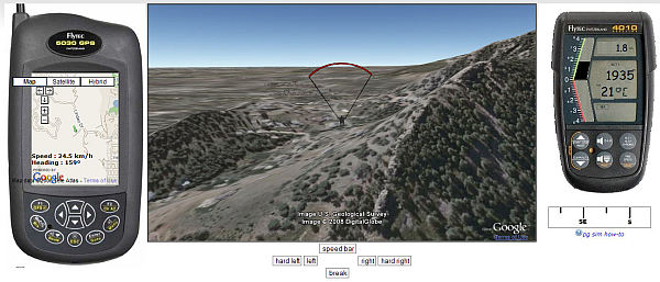 Paraglider Simulator in Google Earth Plugin