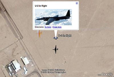 U2 in Flight in Google Earth