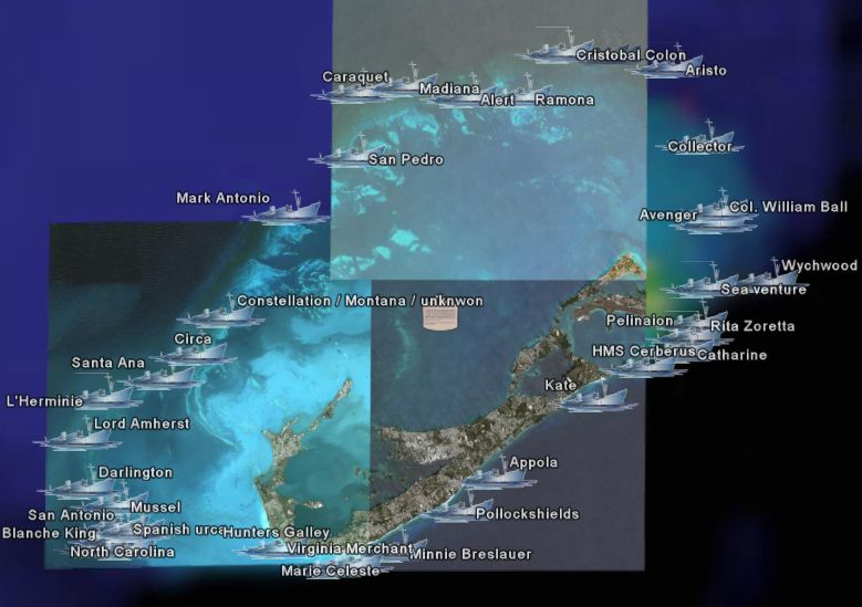 Bermuda Treasure Shipwrecks Map - Google Earth Blog