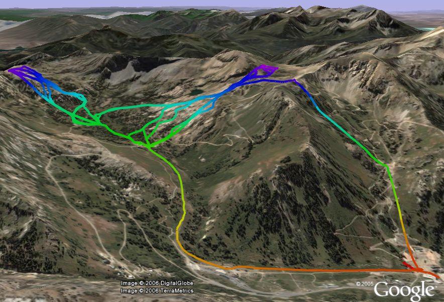 Skiing Alta GPS track  in Google Earth
