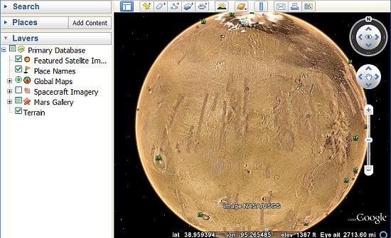 Mars in Google Earth 5
