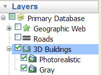3D Buildings Layer folder in Google Earth