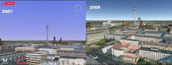 Berlin in 3D comparison 2007 to 2009 in Google Earth