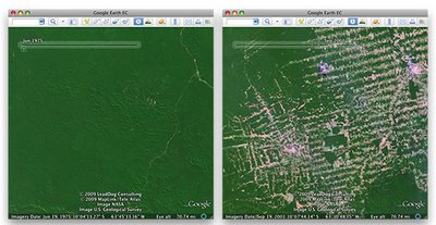 Amazon deforestation comparison in Google Earth