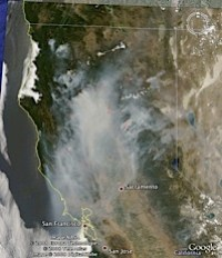 California Fires June 25 - 2008 in Google Earth