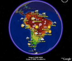 Weather Forecasts for South America in Google Earth
