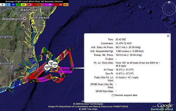 Live Hurricane Hunter Missions in Google Earth - Google Earth Blog