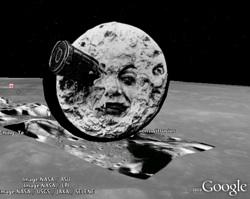 Moon cartoon in Google Earth