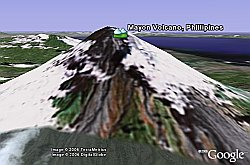 Mayon Volcano Phillipines in Google Earth
