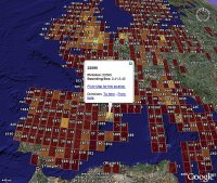 Flickr Photo density (choropleth map) in Google Earth