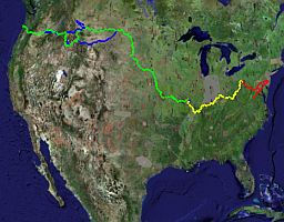 lewis and clark expedition map in Google Earth track