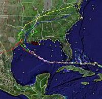 Hurricane Rita track in Google Earth