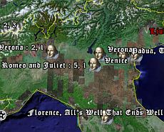 Places quoted in Shakespeare literature in Google Earth