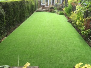 long garden with new astroturf
