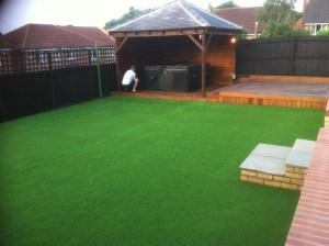 lawn laid up to pergola