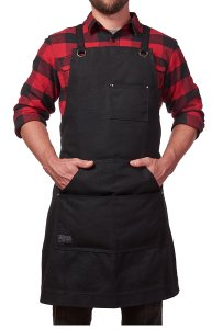 Hudson Durable Goods - Heavy Duty Waxed Canvas Work Apron with Tool Pockets (Black), Cross-Back Straps & Adjustable up to XXL for Men & Women