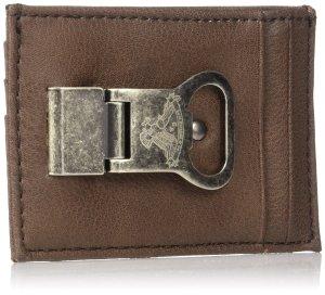 Levi's Men's Front Pocket Slim Wallet with Money Clip Bottle Opener