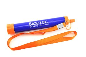 BlizeTec Water Filter Straw: Emergency Preparedness Kit; Portable, Reusable and Filter to 0.1 Microns