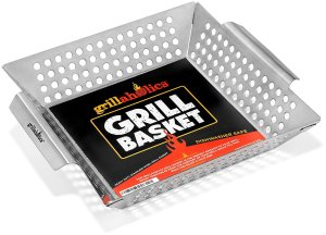 Grillaholics Grill Basket, Best in Barbecue Grilling Accessories, Grill BBQ Veggies on Gas or Charcoal Grills with this Stainless Steel Vegetable Grill Basket