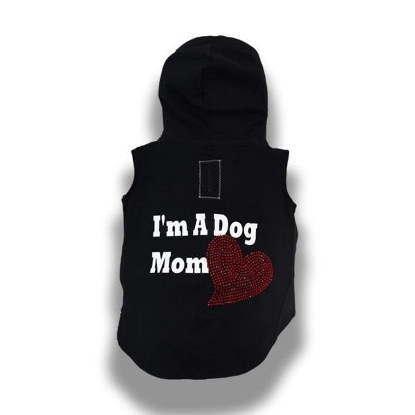 Dog Mom jersey hoodie dog clothes back view