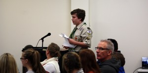 Submitted West G sophomore Greg Goden presents his Eagle Scout project at the West Geauga Board of Education meeting held Oct. 24.