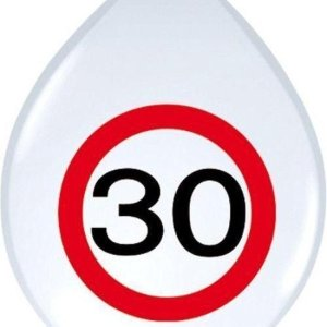 Ballon Verkeersbord leeftijd 30 jaar