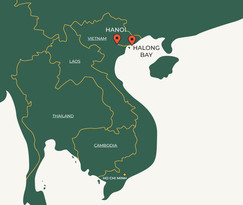 Hanoi to Halong Bay route