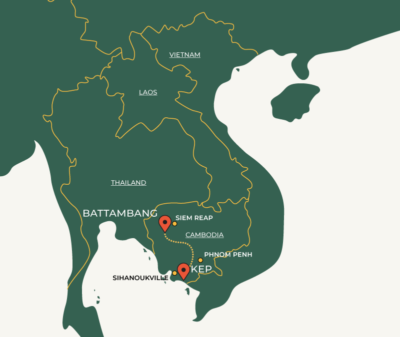 Kep to Battambang travelroute on map