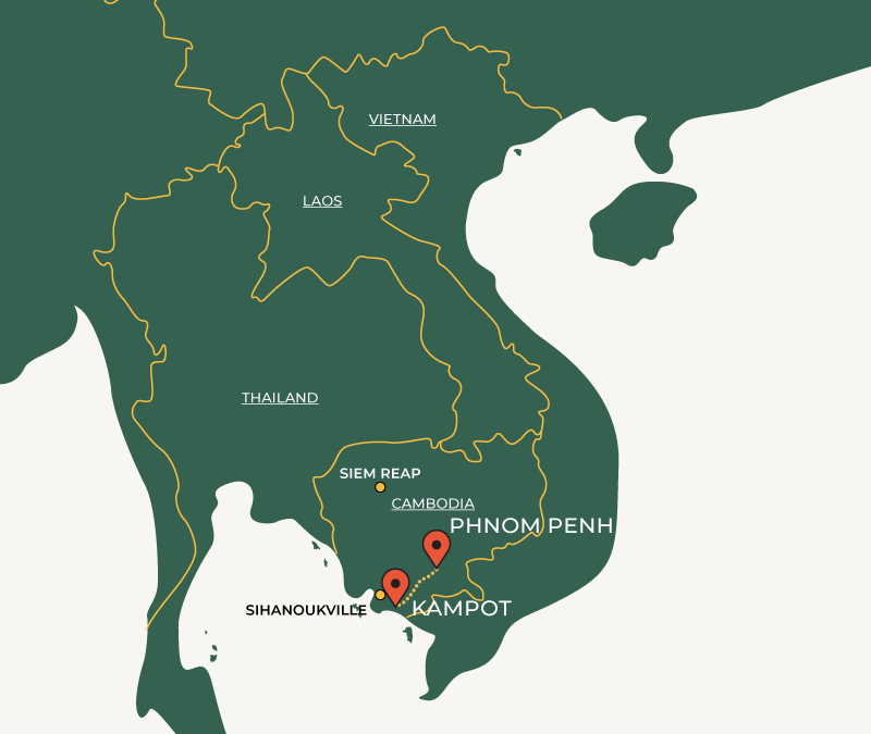 Phnom Penh to Kampot route on map