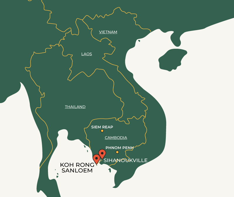 Koh Rong Sanloem to Sihanoukville travelroute on map