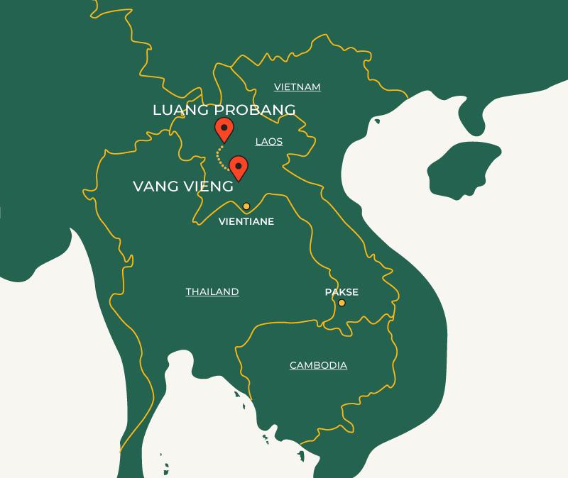 Vang Vieng to Luang Prabang travel route on map