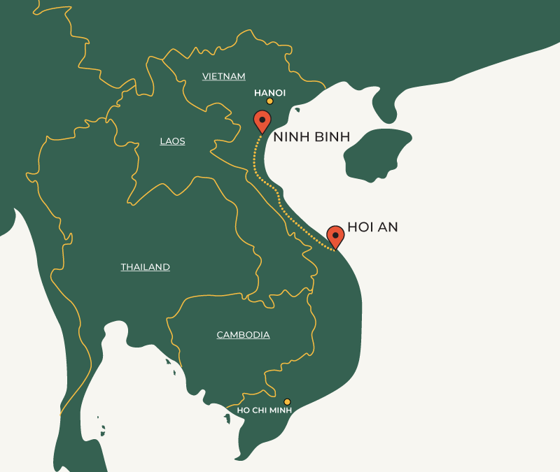 Hoi An to Ninh Binh travelroute map