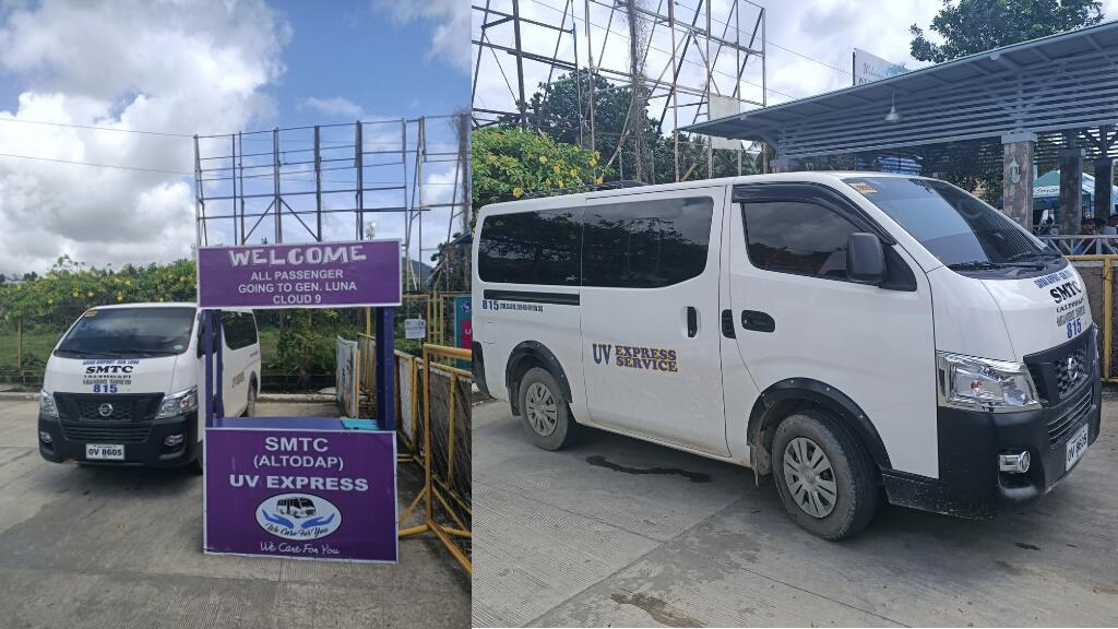 vans parked at siargao aiport