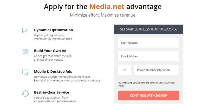 Apply For the Media.net