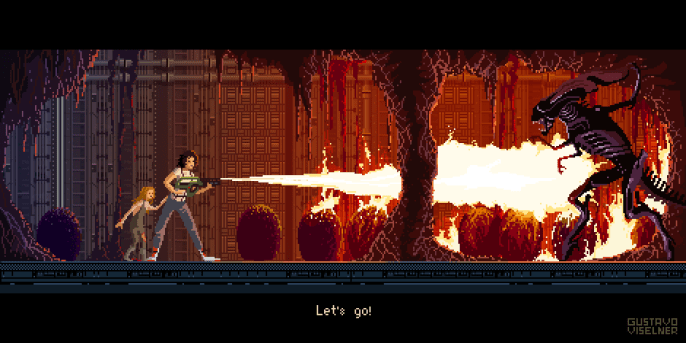 Gustavo Viselner - Cult Movies Pixel Art Aliens
