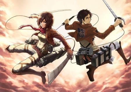 Eren Jägger et Mikasa Ackermann munis de leurs équipements tridimensionnel